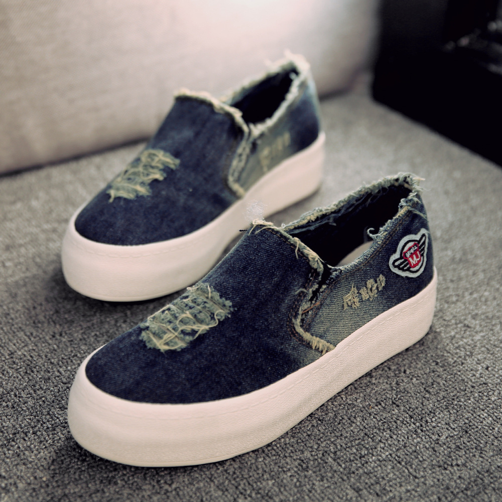 New Womens Flats 2016 Casual Jean Canvas Casual Slip On Round Toe Thick Sole Vintage Shoes
