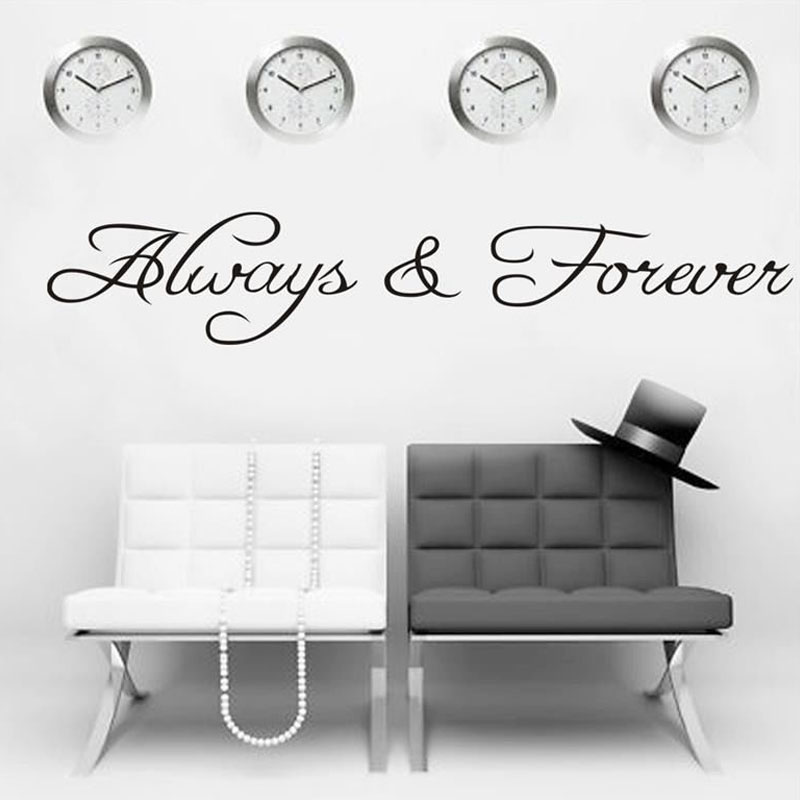 Always And Forever Art Wall Sticker Living Room PVC Waterproof Simple Home Decor