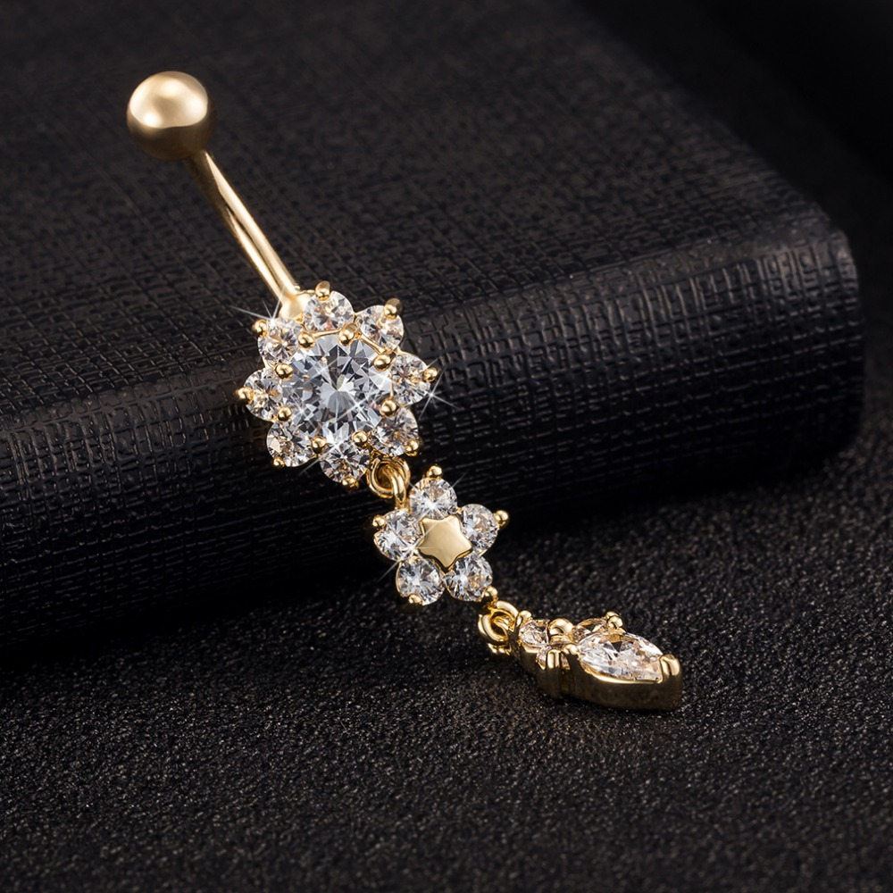 2015 new gold belly button rings for gift gold