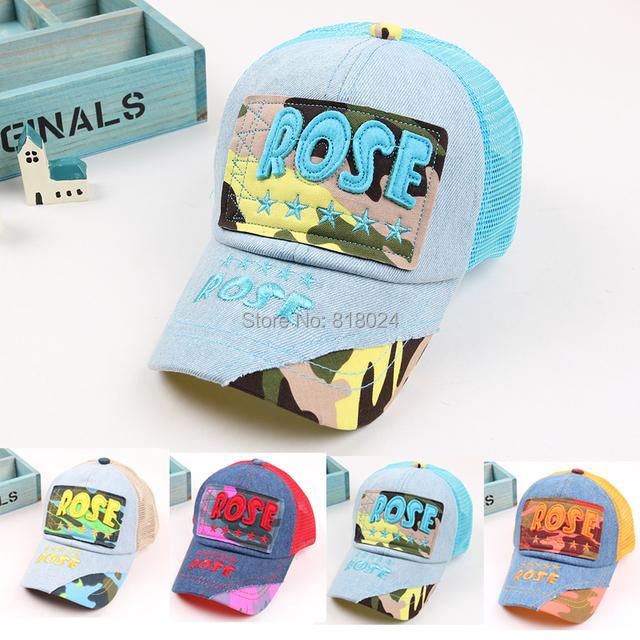 Вышивка дети бейсболки, Мальчики-младенцы девочка деним бейсбол кепка, Дети лето сетчатая ткань солнца шляпа для 3-7yrs