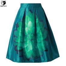 HUOX Classic Lotus High Waist Midi Skirt 2016 Audrey Hepburn 50s Vintage Ball Gown Skirt Pleated Skirt Summer Women Skirt