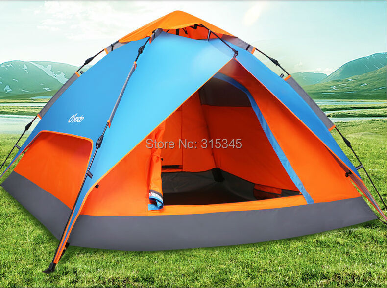 Yodo large space leisure square automatic outdoor camping tent double layers and 3 - 4 Person Tent Type(China (Mainland))