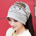 Cotton Spring Autumn Print Sleeve Cap Dual Purpose Beanies Women Slouch Baggy Plicate Hat Head Caps