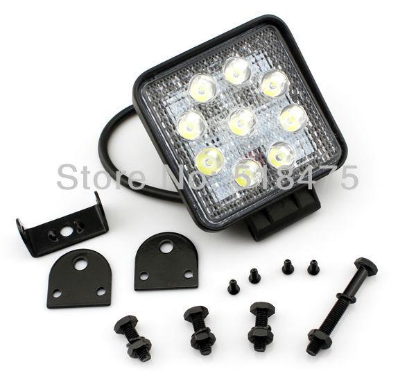New hot 2pcs* Square 27W Spot Flood Beam LED WORK OFFROADS Car LIGHT LAMP 4WD 4x4 SUV TRUCK(China (Mainland))