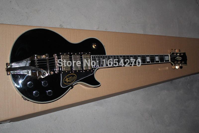 Free shipping new lp custom black 3 pickup jazz rocker electric guitar rocker guitar Ebony fingerboard guitar 151112(China (Mainland))