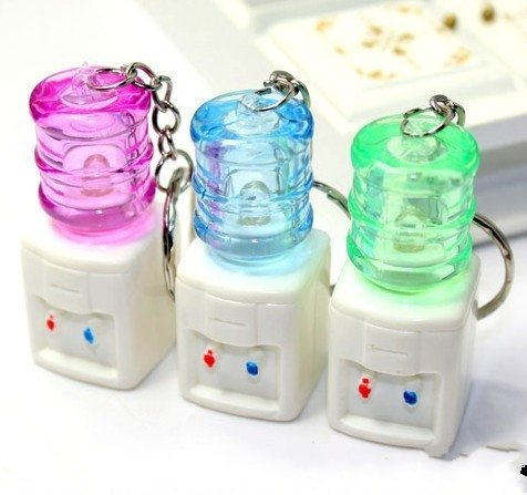 Travelling Mini Simulation Water Dispenser Light LED Flashlight White Torch Key Chains Ring Keyrings Free shipping