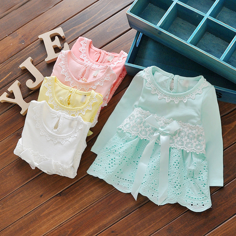 Trendy Lace Collar Cotton Dresses for Girls Little Girls Clothing Kids Wear 2016 Spring Casual Collections(China (Mainland))
