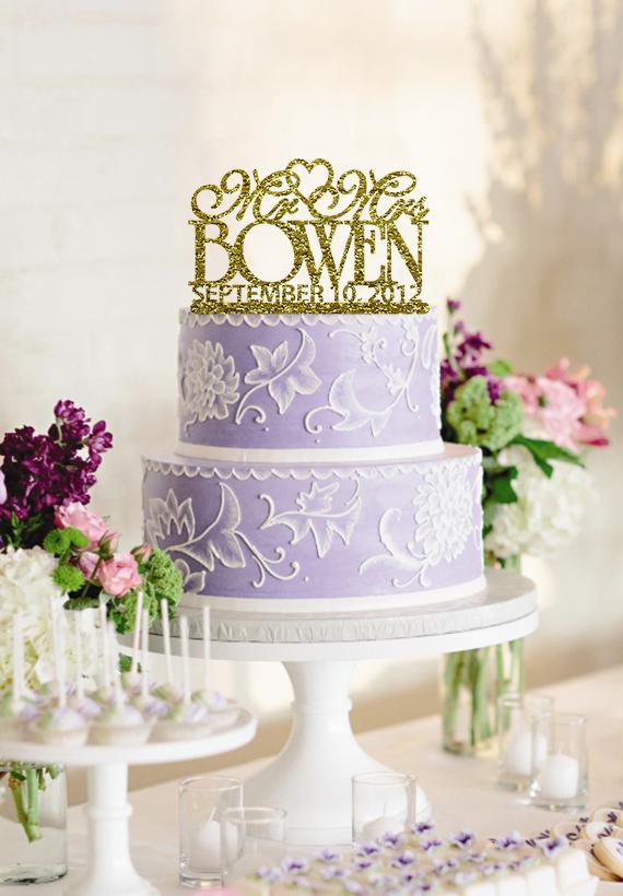 Personalized Wedding Cake Topper Casamento Acrylic Custom Name Sparkles Rhinestone Bling Wedding Monogram Mr & Mrs Wedding Cake(China (Mainland))