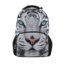fashion 3d zoo animal school bags children backpacks men white tiger schoolbag for boys college students bookbags kids mochilas(China (Mainland))