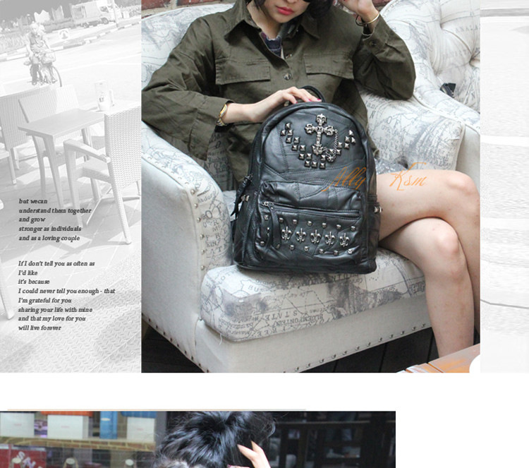 2015 South Korea Style New Campus Wind Rivet Fashion Bags Leather