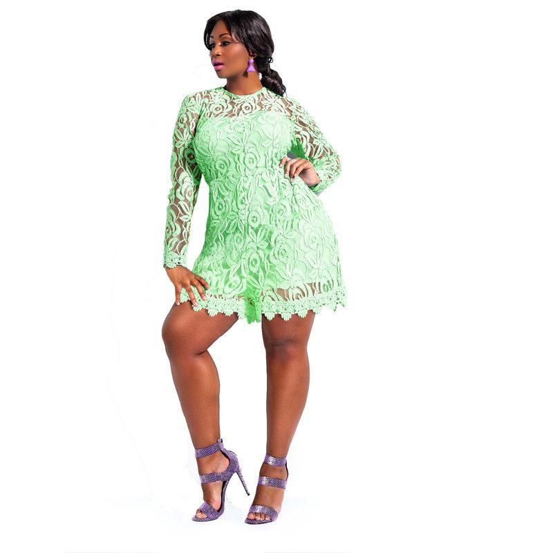 2016 New Plus Long Sleeve Lace Romper Sexy Big Size Romper Shorts Clubwear Autumn Full Sleeve ...