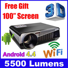 5500 lumen 1920x1080 3d home theater projetor video proyector beamer smart Android 4.4 lcd tv led projector full hd accessories(China (Mainland))