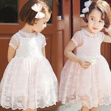 Baby Girls Dress Sleeveless One Piece Cute Lace Ruffles Wave Princess Tutu Dresses Toddler Kids Clothes For Summer vestidos