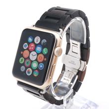 Nueva llegada 100% Natural de madera de ébano correa para Apple iWatch correa moda reloj de madera de bandas para Apple reloj 38 mm / 42 mm