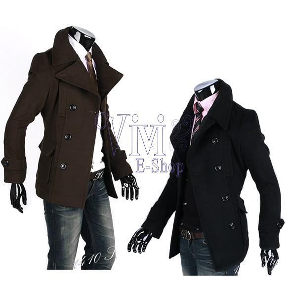 2015 Winter Fashion Fit Trench Men's Coat Jacket Brown Woolen Cloth Wholesale S, M, L, XL 3299 camisa LYP(China (Mainland))