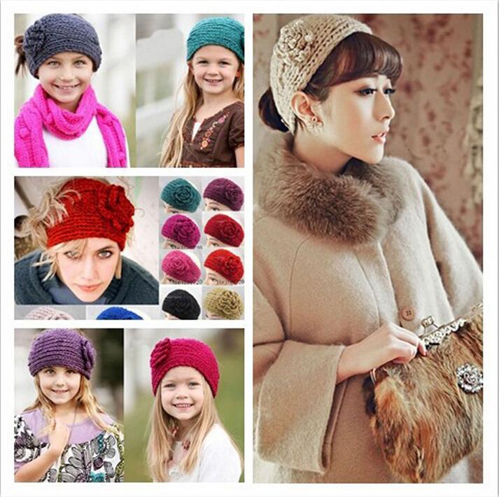 2015 Women Headband Crochet Headband Ear Warmer Headband With Flower Crochet Head Band Headwrap Crochet Earwarmer Christmas Gift(China (Mainland))