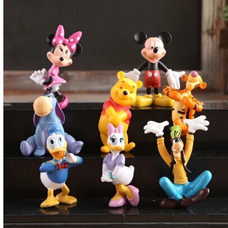 8pcs/lot Mickey Mouse Clubhouse Action Figure Toys 5cm Cute Mickey & Minnie& Pluto & Donald Duck PVC Collection Dolls Kids Gifts(China (Mainland))