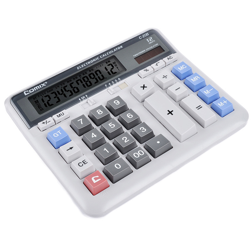 Large Display Screen 12 Digits Office Business Electronic Calculator Solar Dual Power Calculadora Finance Bank Calculator(China (Mainland))