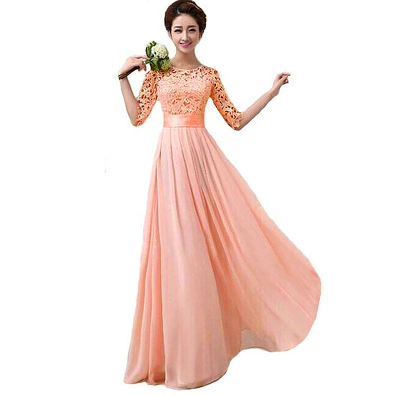 New Brand Bridesmaid Dresses Women Half Sleeve Lace Chiffon Princess Long Wedding Party Dress Vestidos 3 Colors S M L(China (Mainland))