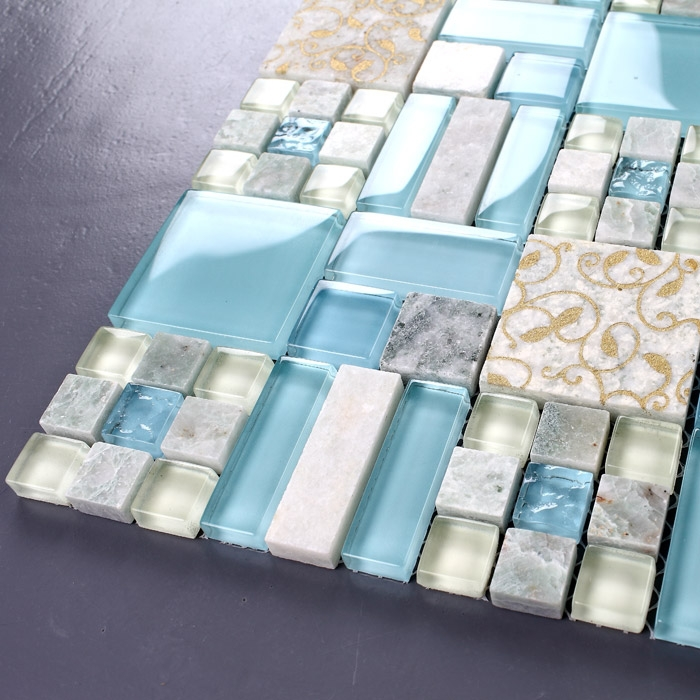 Buy Blue Glass Mixed Stone Mosaic Tiles Bathroom Kitchen Bed