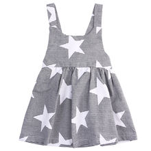 Buy Baby kids Children Girls Dresses Fashion Infant Cotton Bow Cute Casual Gray Summer Beach Clothing Star Stripe Party Girl Dress for $4.59 in AliExpress store