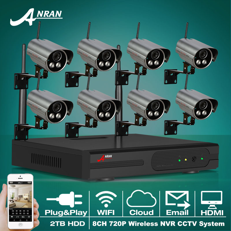 Plug And Play 720P IP Camera WIFI HD Outdoor CCTV 2 Array IR Night Vison Security Wireless Surveillance System 8CH NVR 2TB HDD(China (Mainland))