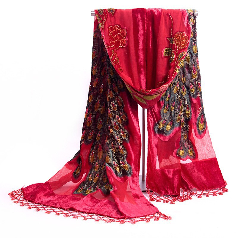 Hot Sale Red Ladies' Velvet Silk Beaded Embroidery Shawl Scarf Wrap Scarves Peafowl Free Shipping WS006-W(China (Mainland))