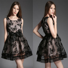 Summer Dress Fashion Women Clothing Sexy Summer Style 2015 Summer  Organza Butterfly Flock Printing Slim O-Neck