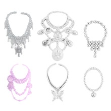 6 pcs/set Fashion Plastic Chain Necklace For Barbie Doll Party Accessories Fashion Jewelry Necklace For Dolls(China (Mainland))