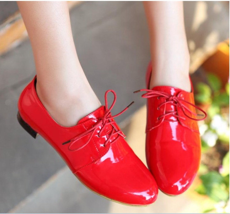 Sweet candy black red patent leather cross straps martin round toe bottom single shoes plus size - Fashion Women's boots store