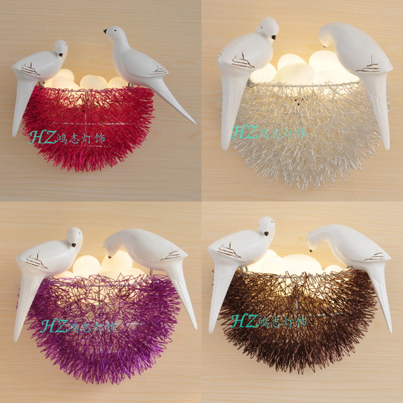 Creative personality nest LED Wall lamp little nest study House children's room art lamp restaurant bedroom decoration shop(China (Mainland))