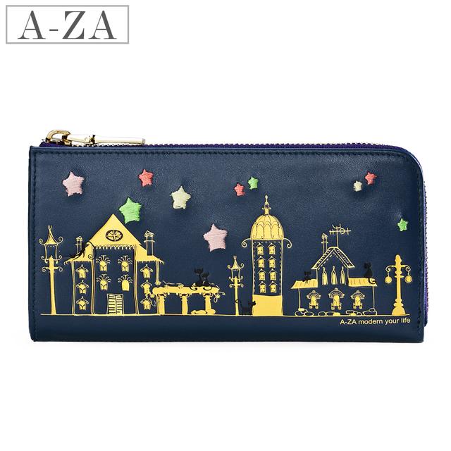 Aza 2013 spring and summer cartoon bronzier line design women's cowhide long wallet 70223
