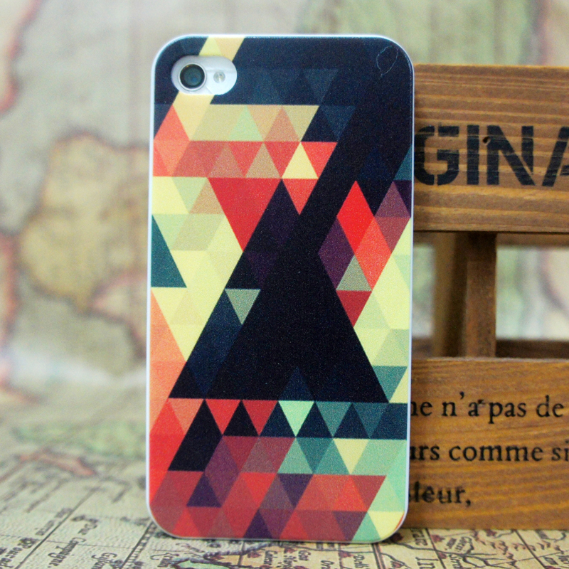 mobile phone cover case iphone 5 5s 4 4s Color triangle shading hard painting pattern - Wei Qi Trading store