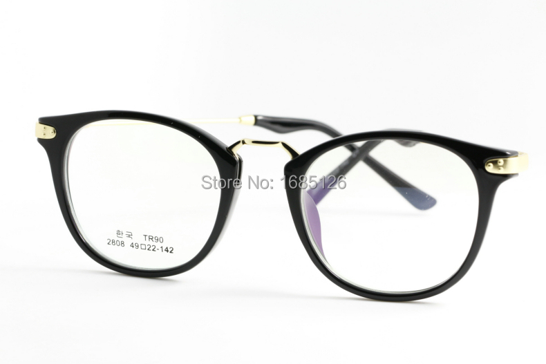 big round new black gold fashion frame glasses opitical men women yellow light big band