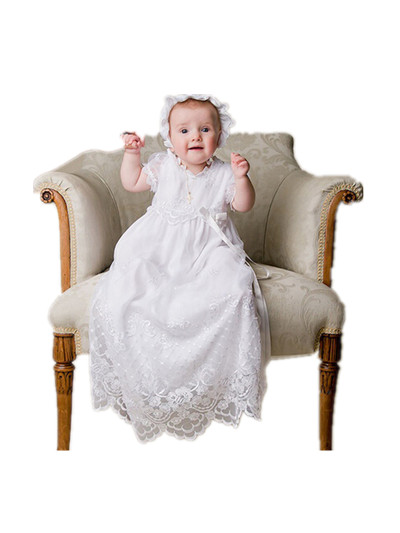 BABY WOW Palace Style White Baptism Baby Girl Christening Gowns Long Dress Hat Lace Pearl, Reine Des Neiges 90135 - linhaiying baby formal dress store