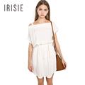 IRISIE Apparel Sexy Slash Neck Women Dresses White Asymmetrical Pullover Mini Dress Drawstring Off Shoulder Sweet