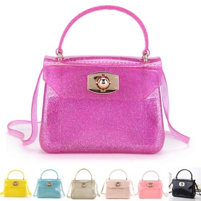 (flowers-bag 02) female fashion transparent rubber silicone handbags candy-colored jelly small bag button handbags(China (Mainland))