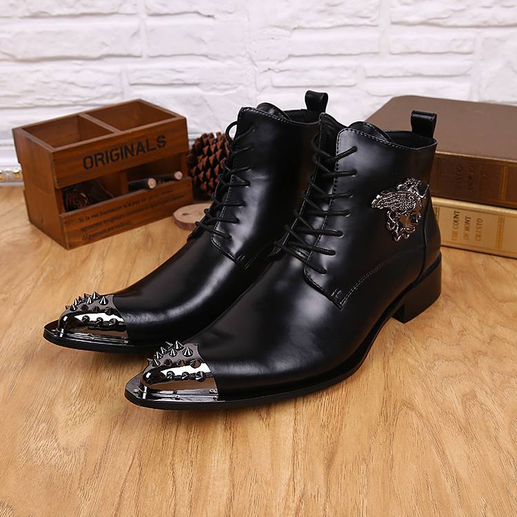 Short boots Men shoes fashion ankle boots with rivet genuine leather Pointed toe punk lace-up Motorcycle boots yards size 37-46<br><br>Aliexpress