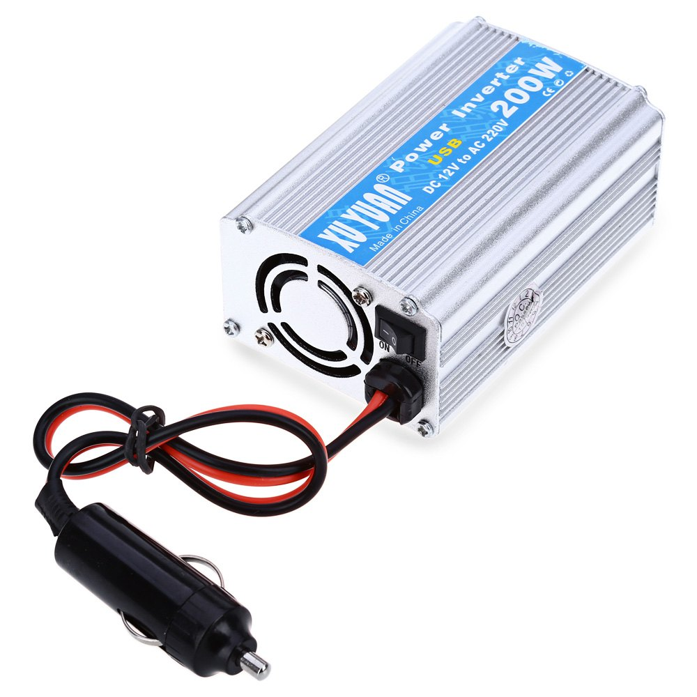 200W DC 12V to AC 220V Car Power Inverter with USB Charging Port with LED Display Shows DC and AC Voltage Aluminum Alloy Case(China (Mainland))