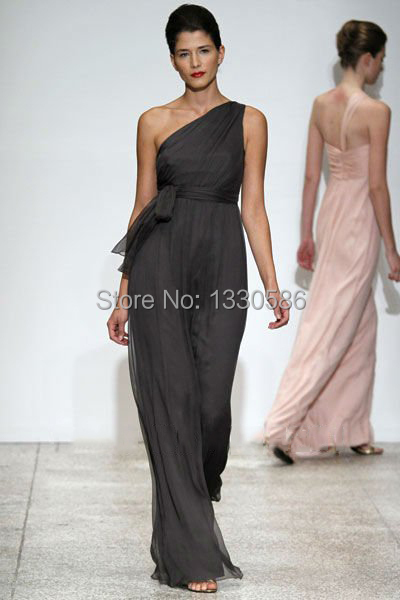 Free shipping 2015 new one shoulder charcoal grey sashes for Charcoal dresses for weddings