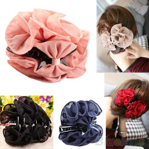 Korean Beauty Chiffon Rose Flower Bow Jaw Clip Women Barrette Hair Claw Claws 00HW(China (Mainland))