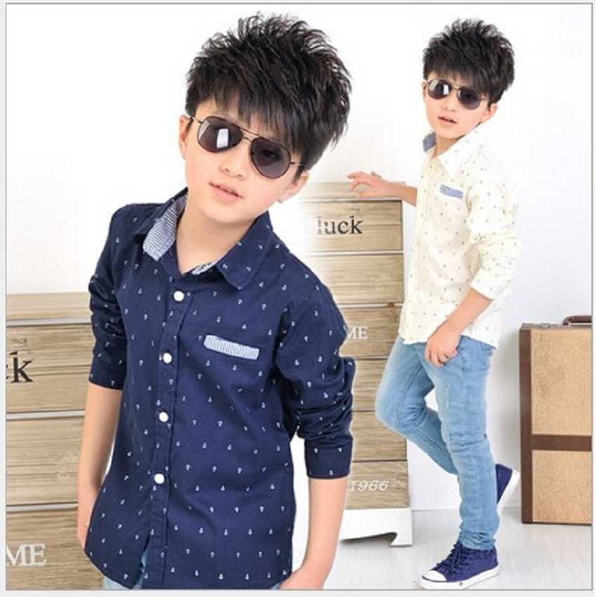 Children Clothing Baby Boys Dot Long-sleeve Brand Kid Blouse School Shirts for Boys Turn Down Collar Fashion Cotton OutwearT043(China (Mainland))