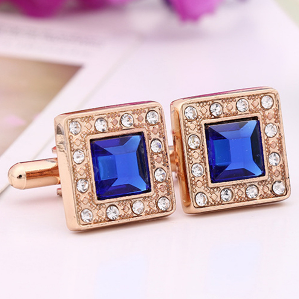 Silver Gold Plated Metal Black Blue Stone Crystal Cufflink Cuff Link 1 Pair for Men Wedding abotoaduras Jewelry Accessories(China (Mainland))