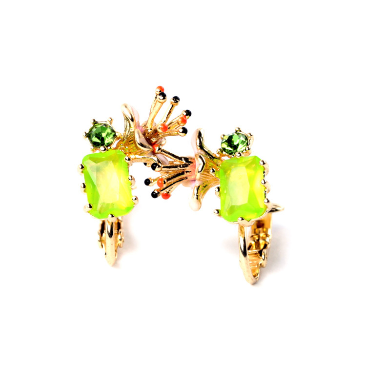 Flashing Yellow Neon Enamel Flower Ear Earrings Women Accessories Designer Jewelry Factory Wholesale(China (Mainland))