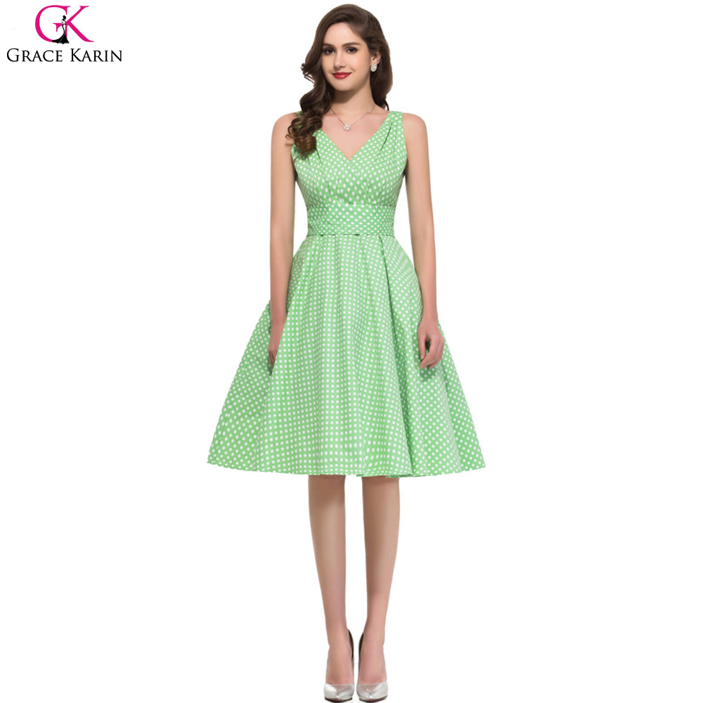 Casual Dresses Grace Karin Cotton V Neck Short Work Retro 50s Vintage Rockabilly Dress Pin Up Swing Polka Dot Summer Style 6295(China (Mainland))