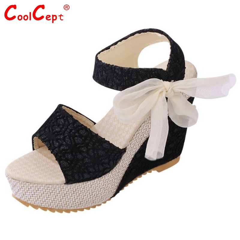 Fashion wedges sandals female shoes women platform shoes lace belt bow Flip Flops open toe high-heeled shoes size 35-39 PA00222(China (Mainland))