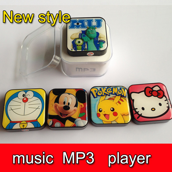 100pcs DHL Cute Music MP3 player+USB+Earphone+Crystal Box Mini Rechargeable MP3 W/TF card Slot free shipping(China (Mainland))