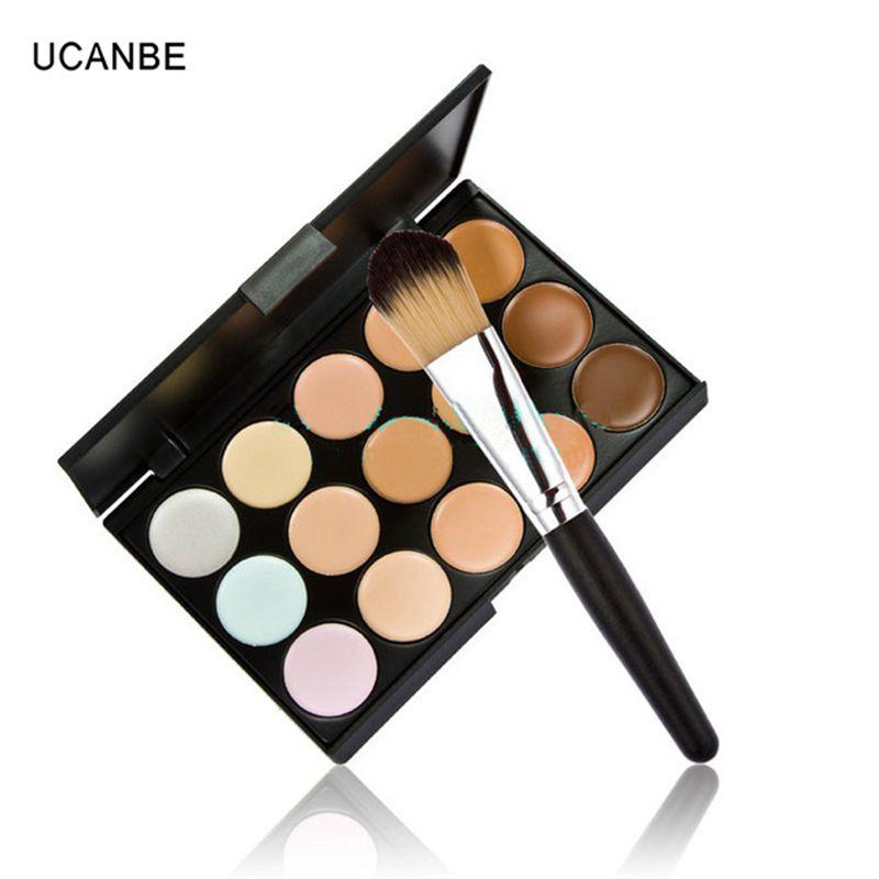 Cosmetic Pro Salon Party Makeup 15 Color Concealer Palettes Contour Face Cream Powder Brush 2 1 Lot - FashonLine&Beautiful&Sexy @GaungZhou store