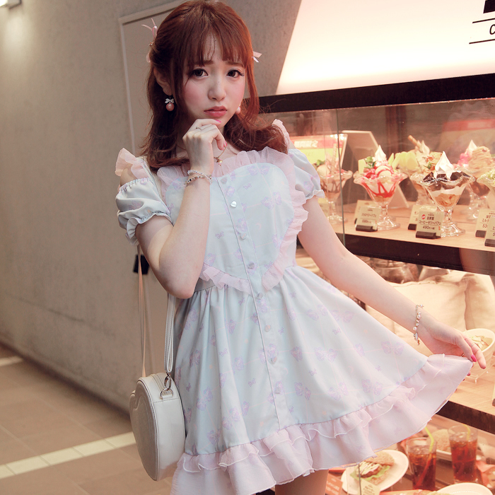 Princess sweet lolita dress BoBON21 Exclusive design Alone the wildebeest printing love Hollow out Dew shoulder dress D1210(China (Mainland))