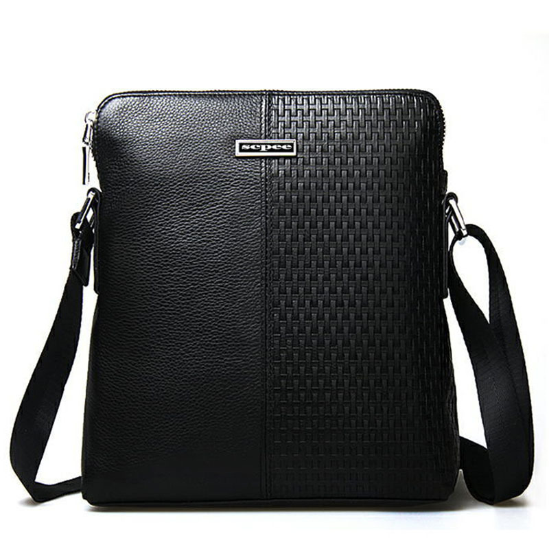 100% leather woven bag man bag Men's Messenger Bag men Messenger shoulder bag free shipping(China (Mainland))